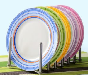 Ceramic Table & Dinner Plates with Colorful Lines