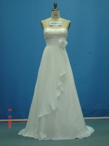 Real Sample Chiffon Strapless with Flower Bridal Wedding Dress (WD0168) pictures & photos