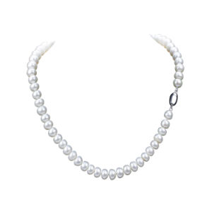 2016 Button Shape Choker 925 Silver Natural Pearl Necklace