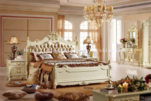 Pearl White French Neoclassical Style Solid Wood Leather Bedroom Set (TH559)