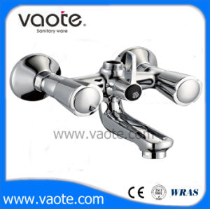 Double Handle Zinc Body Sink Wall Faucet/Mixer (VT61402) pictures & photos