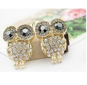 Change 3D Rhinestone Cute Owl Earring Erl2014091