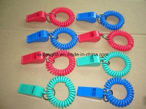Plastic Whistle with Plastic Spring Stainless Steel Ring