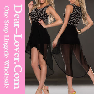 Leopard Bodice High Low Skirt Evening Dress pictures & photos
