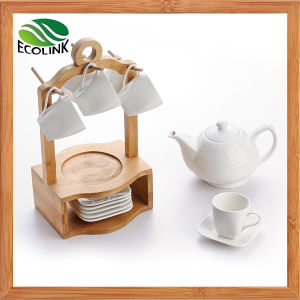 Ceramic Coffee Cup and Saucer Set with Bamboo Stand pictures & photos