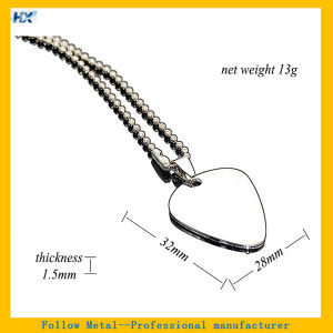 60cm Guitar Pick Necklace High Polished Mirror Effect Stainless Steel Blank Metal Dog Tag pictures & photos