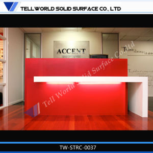 Tw OEM Acrylic Solid Surface Fancy Style Reception Desk, Commercial Reception Counter pictures & photos