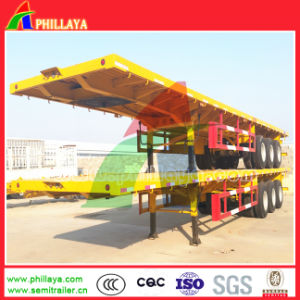 3 Axle Platform Flatbed Container Transport Truck Trailer pictures & photos