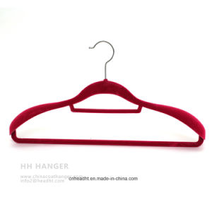 Swivel Hook Flocked Velvet Adult Clothes Hangers, Big Suit Shoulder Velvet Hanger pictures & photos