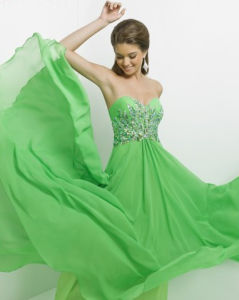 Fashion Green Chiffon Cocktail Formal Party Prom Evening Dress