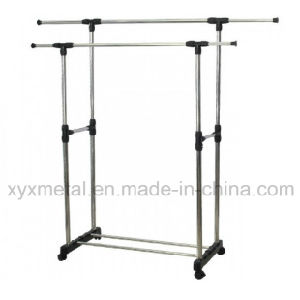 Stainless Steel Double Pole Telescopic Garment Rack pictures & photos