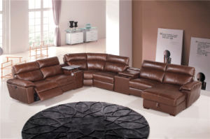 Corner Leather Sofa Bed 854# pictures & photos