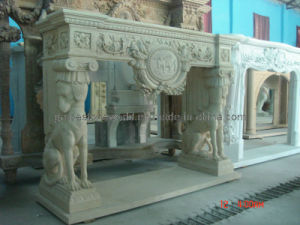 Stone Carved Fireplace with Dog Decoration (GS-FF-027) pictures & photos