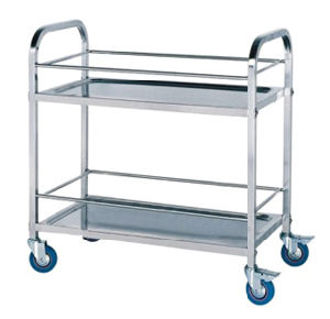 Stainless Steel Double-Deck Service Trolley for Hotel Restaurant Hospital Fw-66A pictures & photos