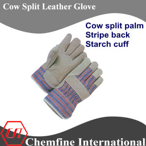 Cow Split Palm, Stripe Back, Starch Cuff Leather Work Gloves pictures & photos