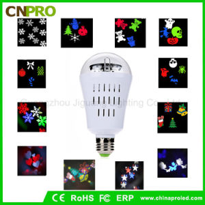Party New E27 4W LED Rotating Bulb with Moon Stars Heart Fireworks Snow Butterfly Pattern pictures & photos