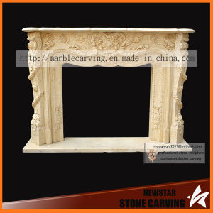 Egyptain Beige Marble Carving Fireplace Surround pictures & photos