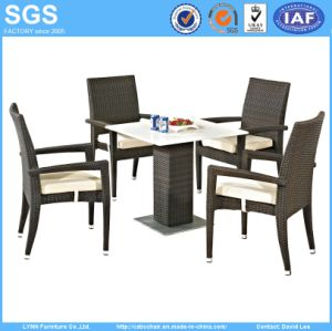High Quality Modern Design Outdoor Restaurant Furniture Quartz Stone Table and Rattan Chair pictures & photos