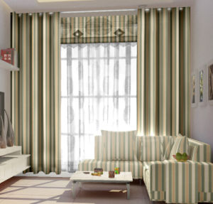 100%Polyester Jacquard Stripe Grommet Panel Curtain pictures & photos