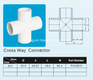 Plastic PVC-U Cross Tee / Cross / Cross Way Connector ASTM Sch40 D2466 Standard pictures & photos