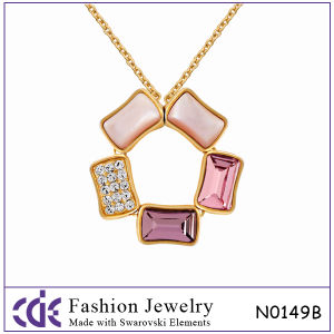 Elegant Flower Extendable Necklace Jewelry with 5 Square Crystal 2013
