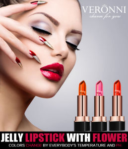 Jelly Lipstick with Flower Change to Different Colors 3 Colors Moisturizing Lipstick pictures & photos