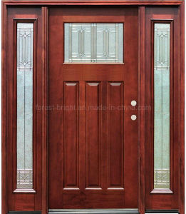 Stained Mahogany Wooden Door with One Lite Two Side Lites pictures & photos