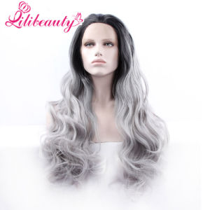 Synthetic Hair Ombre Grey Long Wavy Lace Fron Wig pictures & photos