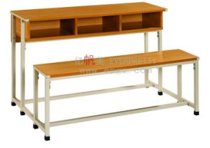 3-Person School Furniture Student Wooden Desk and Wooden Chair pictures & photos