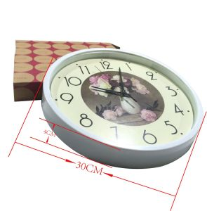 12 Inch Home Decoration Plastic Home Goods Wall Clock, Round Plastic Wall Clock (LZ009) pictures & photos