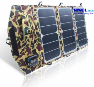 19.5W Dual USB Output Folding Solar Power Charger for Backpack with Hanging Hoops (FSC-19.5A) pictures & photos
