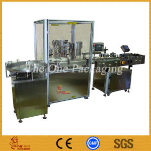Filler and Stoppering Capper Production Line-Bottle Filler and Label Line. pictures & photos