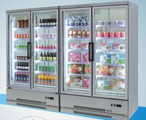 Front Open Type Double-Glass Door Fruit Showcase Refrigerator pictures & photos