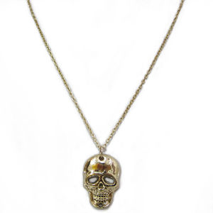 Fashion Jewelry Gold-Plated Skull Alloy Metal Pendant Necklace (HNK-11807)