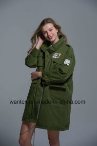 Ladies 100% Cotton Coat Spring Autumn Fashion Comfortable Green Jacket pictures & photos