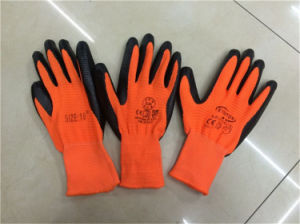 Cheap Colored Zebra-Stripe Nitrile Coated Nylon Gloves pictures & photos