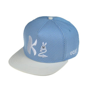 Blue 5 Panels Polyester PU Flat Brim Snapback Cap Hat pictures & photos