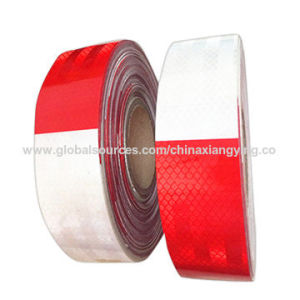 Red and White PVC/Pet Reflective Tape for Road Warning pictures & photos