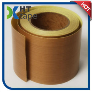 Brown PTFE Teflon Cloth Adhesive Tapes with Yellow Release Liner pictures & photos