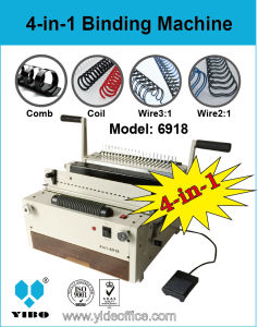 4-in-1 6918 Electrical Punching and Binding Machine for Comb, Wire 3: 1, Wire2: 1 and Coil pictures & photos