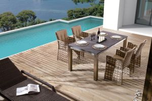 Outdoor Rattan Home Hotel Office Garden Barcello Square Dining Table and Chair (J6351) pictures & photos