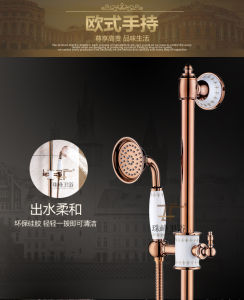 New Design Chinese Blue-and-White Ceramic Double Handle Zf-605 Brass Rain Shower Set pictures & photos