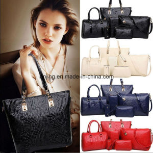 Women 5PCS Leather Handbag Set Shoulder Tote Fashion Bags pictures & photos