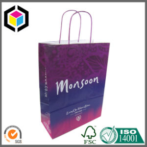 Metal Eyelet Gold Color Paper Promotion Carrier Bag pictures & photos