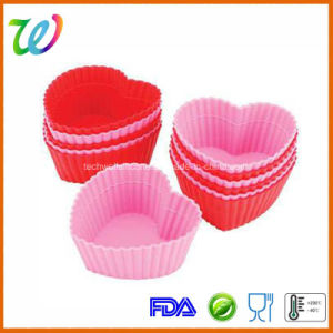Factory Wholesale FDA Approved Silicone Heart Shaped Wedding Cupcake Cases