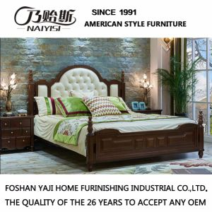 New Modern Genuine Wooden Leather Bed With Solid Wood Fram For Livingroom  Furniture As818