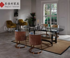 Morden Stainless Steel Dining Table with Black Tempered Glass pictures & photos