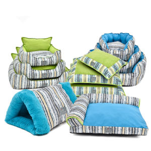 Stripes Cotton Pet Cushion Flocked Quilted Dog Beds pictures & photos