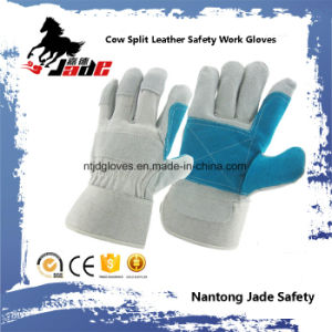 Double Palm Cow Split Leather Industrial Safety Work Glove pictures & photos