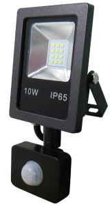 Rectangular Slim 10W LED Floodlightdie-Casting Aluminium Body Tempered Glasses with Flat PIR Sensor pictures & photos